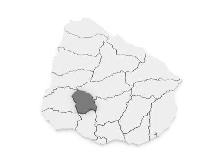 Map of Flores. Uruguay. 3d Фото со стока