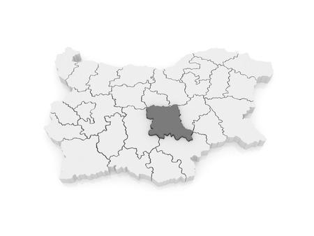 bulgaria: Map of Stara Zagora region. Bulgaria. 3d
