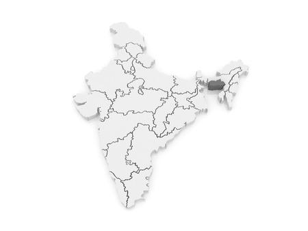 india 3d: Map of Meghalaya. India. 3d