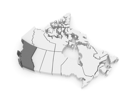 columbia: Map of British Columbia. Canada. 3d
