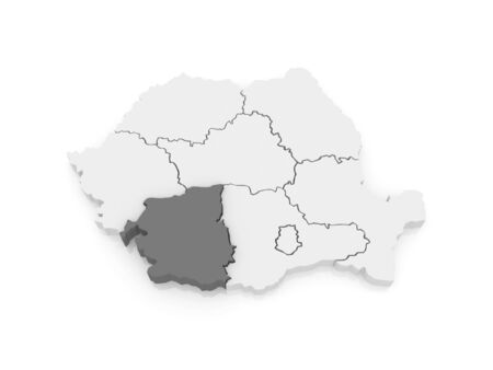 southwest: Map of Southwest Development Romania. 3d Stock Photo