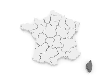 corsica: Map of Corsica. France. 3d