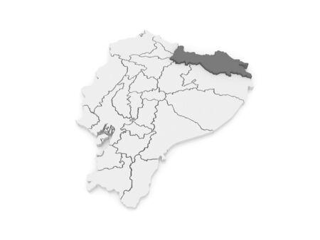 ecuador: Map of Sucumbios. Ecuador. 3d