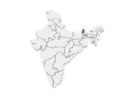 india 3d: Map of Sikkim. India. 3d