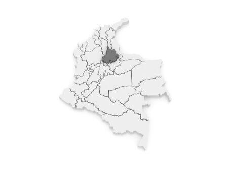 santander: Map of Santander. Colombia. 3d