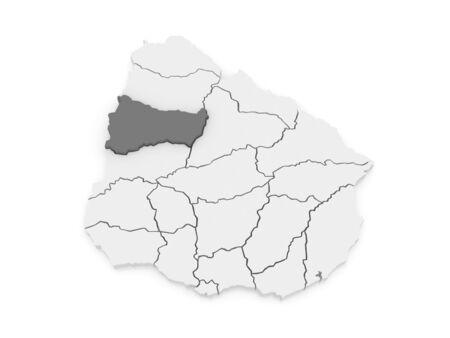 Map of Pajsandu. Uruguay. 3d