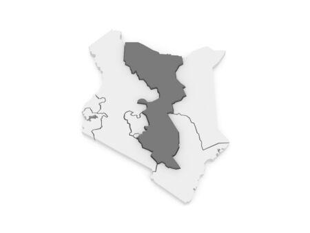 kenya: Map of East. Kenya. 3d Stock Photo