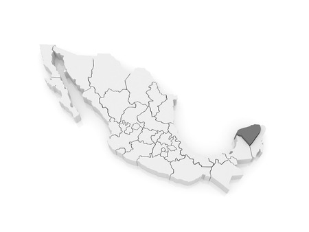 yucatan: Map of Yucatan. Mexico. 3d