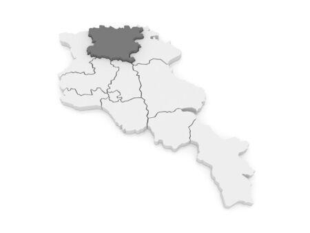 map of armenia: Map of Lori. Armenia. 3d Stock Photo