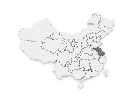 jiangsu: Map of Jiangsu. China. 3d Stock Photo