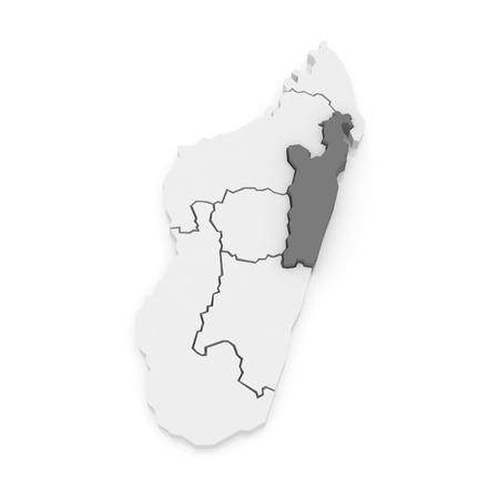 Map of Toamasina. Madagascar. 3d Фото со стока