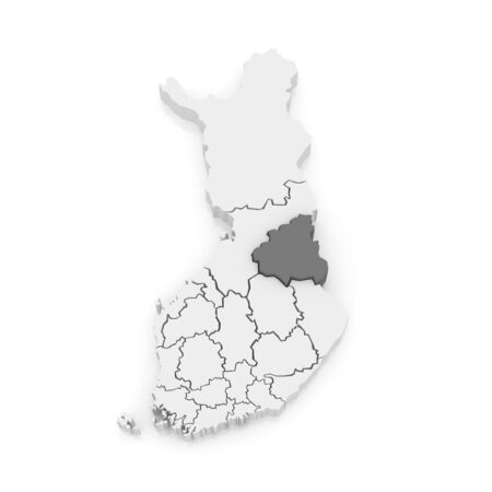 finland: Map of Kainuu. Finland. 3d Stock Photo
