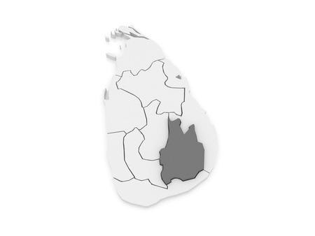 uva: Map of Uva. Sri Lanka. 3d