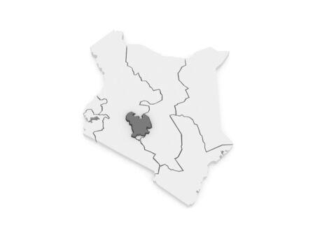 kenya: Map of Central. Kenya. 3d Stock Photo