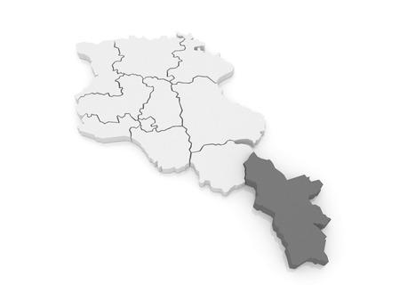map of armenia: Map of Syunik. Armenia. 3d