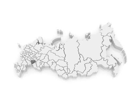 Map of the Russian Federation. Samara region. 3d