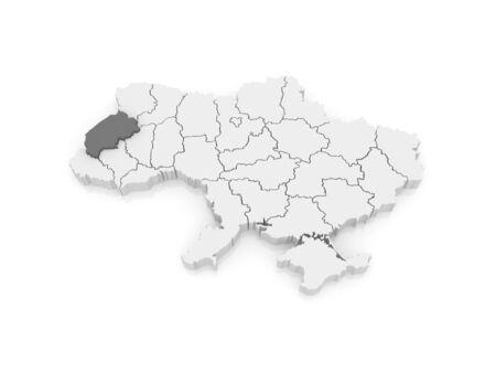 lviv: Map of Lviv region. Ukraine. 3d