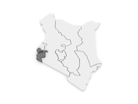 kenya: Map of Nyanza. Kenya. 3d