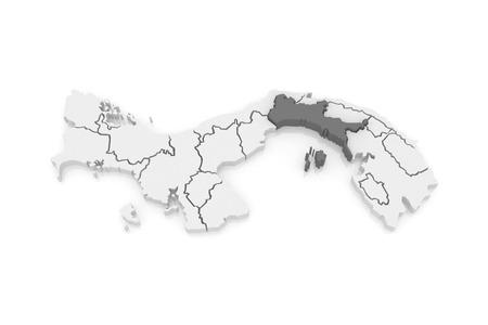 panama: Map of Panama. Panama. 3d