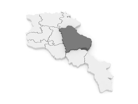 map of armenia: Map of Gegharkunik. Armenia. 3d