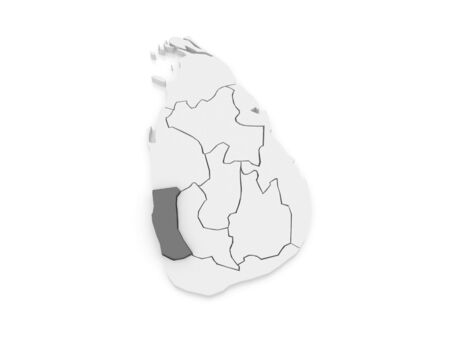 colombo: Map of West. Sri Lanka. 3d