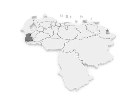 mapa de venezuela: Mapa del T�chira. Venezuela. 3d