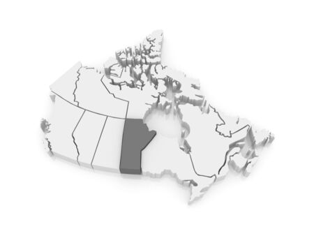 manitoba: Map of Manitoba. Canada. 3d Stock Photo