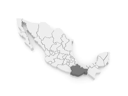 oaxaca: Map of Oaxaca. Mexico. 3d