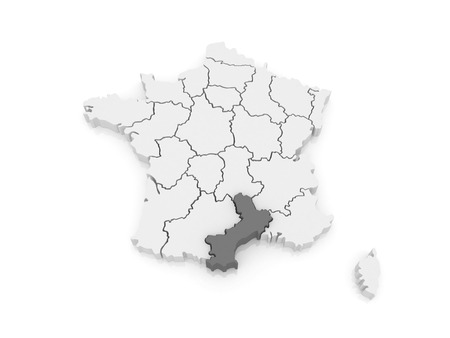 roussillon: Map of Languedoc - Roussillon. France. 3d
