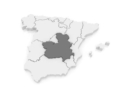 castilla: Map of Castilla - La Mancha. Spain. 3d