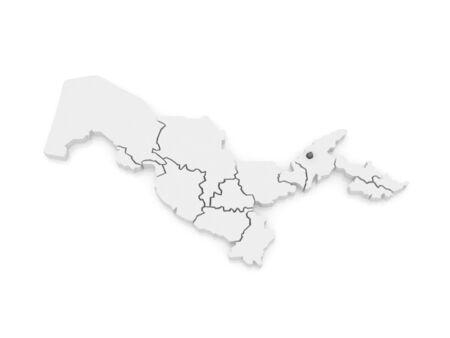 uzbekistan: Map of Tashkent. Uzbekistan. 3d