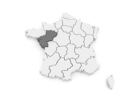 pays: Map of Pays de la Loire. France. 3d Stock Photo