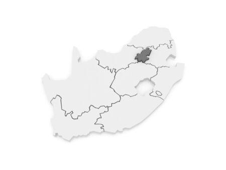 johannesburg: Map of Gauteng (Johannesburg). South Africa. 3d