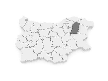 bulgaria: Map of Shumen Province. Bulgaria. 3d Stock Photo