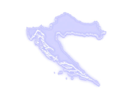 croatia: Map of Croatia. 3d