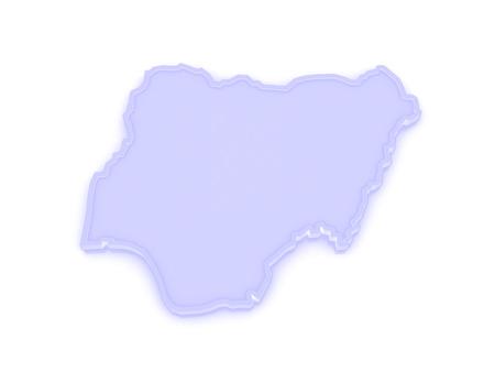 nigeria: Map of Nigeria. 3d Stock Photo