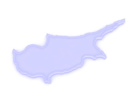 cyprus: Map of Cyprus. 3d Stock Photo