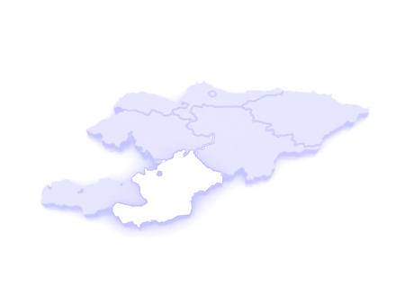 osh: Map of Osh oblast. Kyrgyzstan. 3d Stock Photo