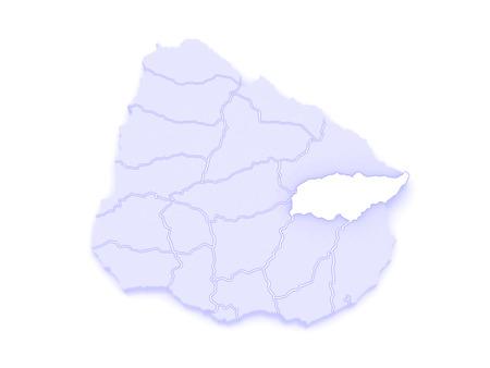 tres: Map of Treinta y Tres. Uruguay. 3d