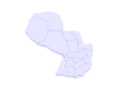 borough: Map of Metropolitan Borough Asuncion. Paraguay. 3d