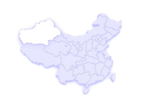 xinjiang: Carte ou�goure du Xinjiang. Chine. 3d
