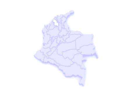 republics: Map of Sucre. Colombia. 3d