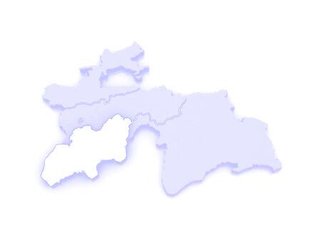 republics: Map of Khatlon. Tajikistan. 3d