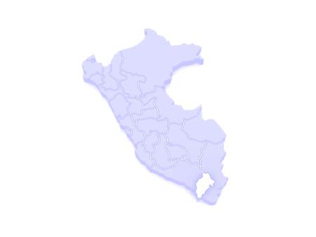 mapa del peru: Mapa de Moquegua. Per�. 3d Foto de archivo