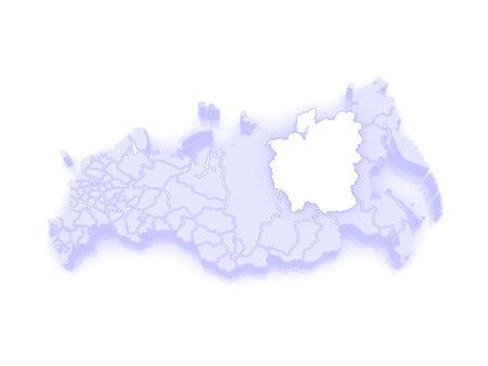 federation: Map of the Russian Federation. Republic of Sakha (Yakutia). 3d