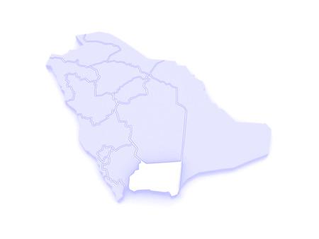 arabia: Map of Najran. Saudi Arabia. 3d