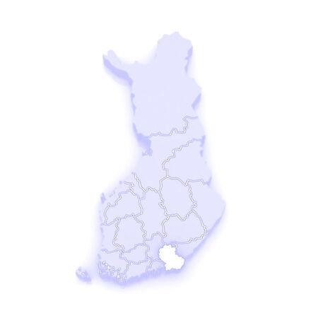republics: Map of Kymi. Finland. 3d