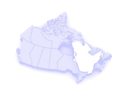 republics: Map of Quebec. Canada. 3d