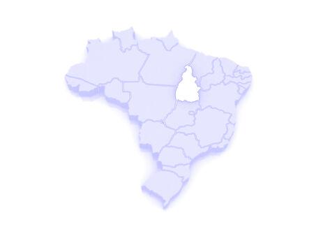 republics: Map of Tocantins. Brazil. 3d