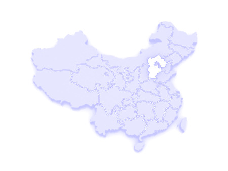 hebei: Map of Hebei. China. 3d Stock Photo